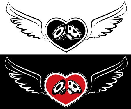 Heart, speaker and wings. Tattoo on a white and black background Vector