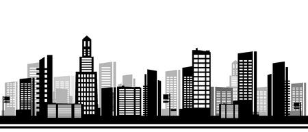 Panorama town - schetsillustratie