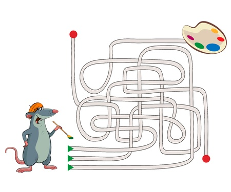 educational problem solving: Maze. Illustration of an mouse artist with a palette