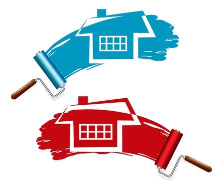 Schilderen van het huis Paint Rollers Stock Illustratie