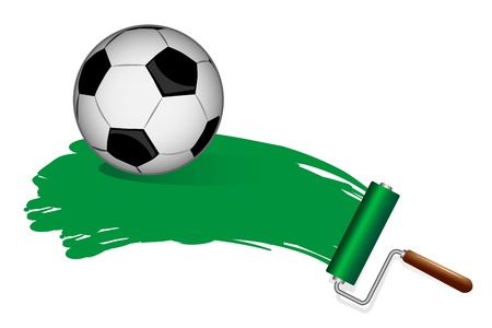 Paint Rollers  Soccer ball on the grass Stock Vector - 20727728