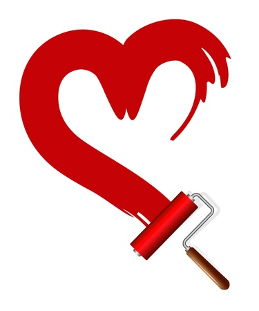 Painting the house  Paint rollers and red heart Stock Vector - 20727730