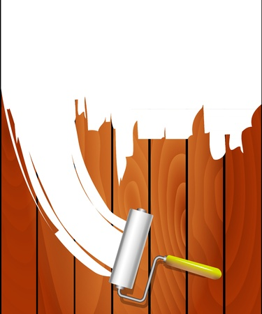 Painting the house  Painted wooden wall Stock Vector - 20727734