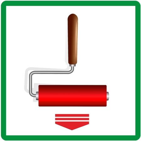 rollers: Red paint rollers Illustration