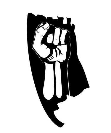 riot: Clenched fist hand vector  Victory, revolt concept  Revolution, solidarity  Illustration