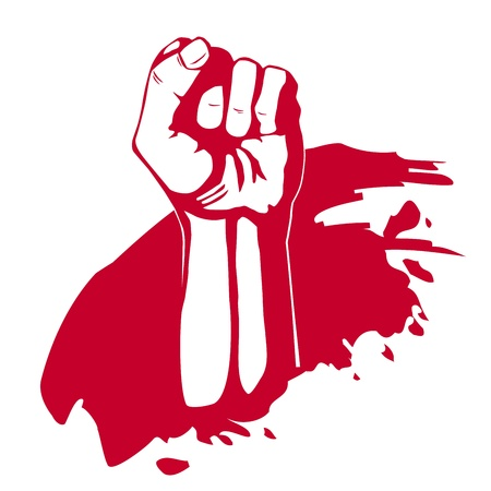 labor strong: Clenched fist hand  Victory, revolt concept  Revolution, solidarity