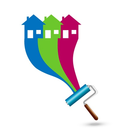 Painting the house. Paint Rollers Stock Illustratie