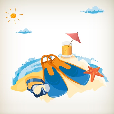 Tourism. Holiday at the seaside. Vector