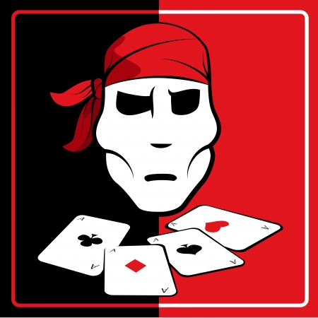 Pirate and playing cards Vector