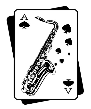 Saxophone and playing cards Vector