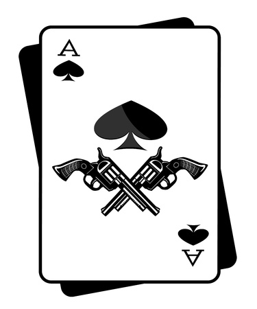 organized crime: The gun and the ace of spades Illustration