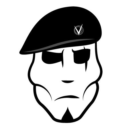 Vector illustration soldier in beret Illustration