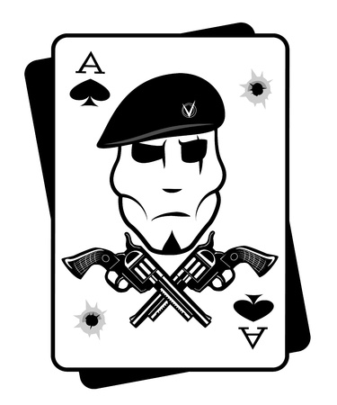 Soldiers gun and playing cards Vector