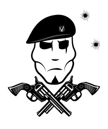 beret: Pistol and soldier in beret
