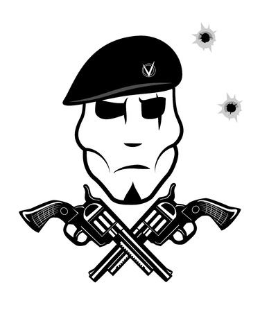 Pistool en soldaat in baret