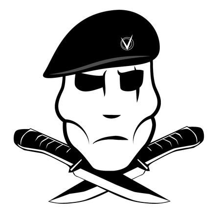 Soldier in a beret and two knife Vector