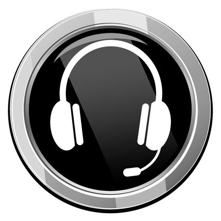 Vector glossy headset web icon design element. Çizim