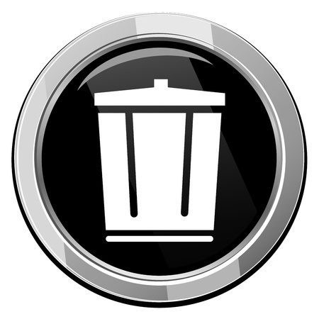 waste disposal: Vector trash can icon