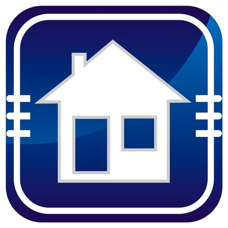 realstate: Illustration of home icons, house silhouettes on blue background