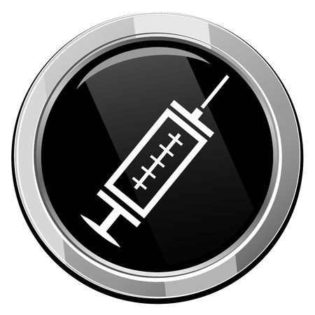 Medical syringe with vaccine - black vector icon Vector
