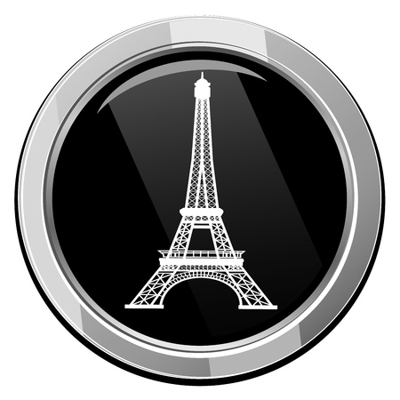 Eiffel Tower in Paris, France - black icon isolated Stock Vector - 21297126
