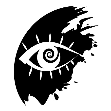 lens brush: Vector icon - Human eye Illustration
