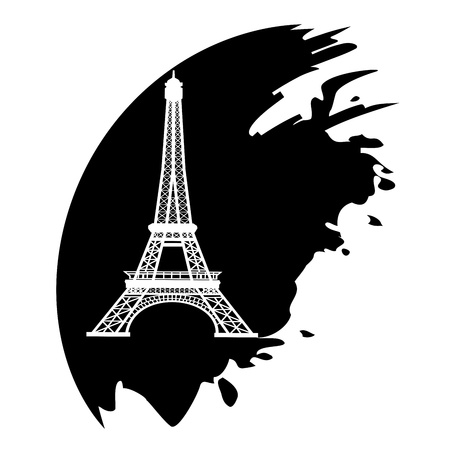 illustration technique: Eiffel Tower in Paris, France - black icon isolated