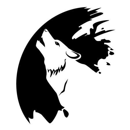 Icon wolf die bij de maan Stockfoto - 21823850