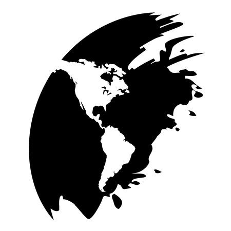 Amériques carte icône noire