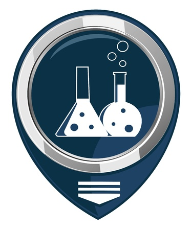 reagent: Flask with chemical reagent - map pointer  isolated Illustration