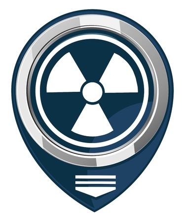 barrel radioactive waste: Radioactive vector map pointer Illustration