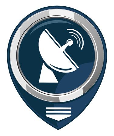 transmitting: Radio radar transmitting signal - map pointer isolated