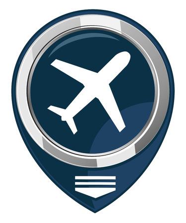 etiquette voyage: Avion - noir pointeur de carte