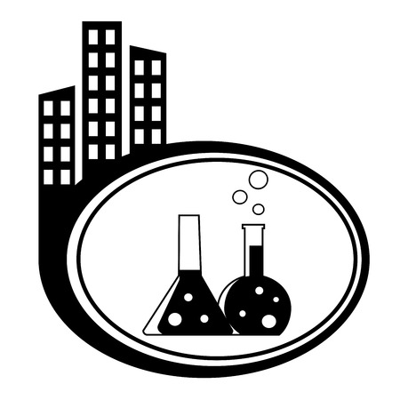 Flask with chemical reagent - city icon isolated Vector