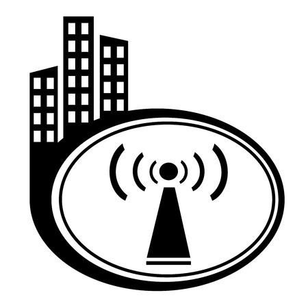 Wifi symbol city icon on white background Stock Vector - 22228882