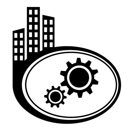 city icon: Gear icon. Black city icon Illustration
