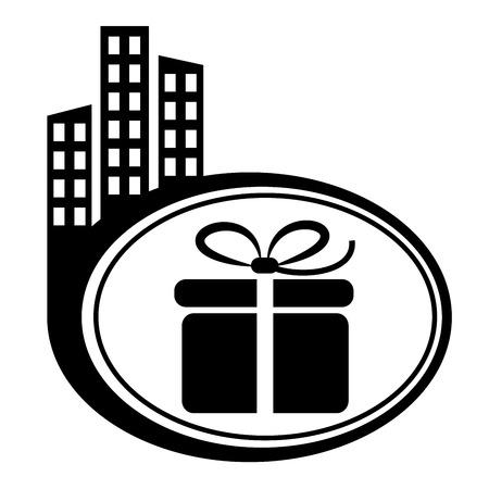 city icon: Gift box – vector icon. Black city icon Illustration