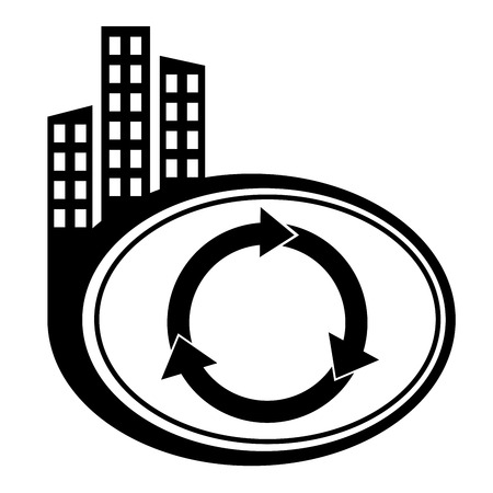 Arrows circle vector icon. Black city icon Vector