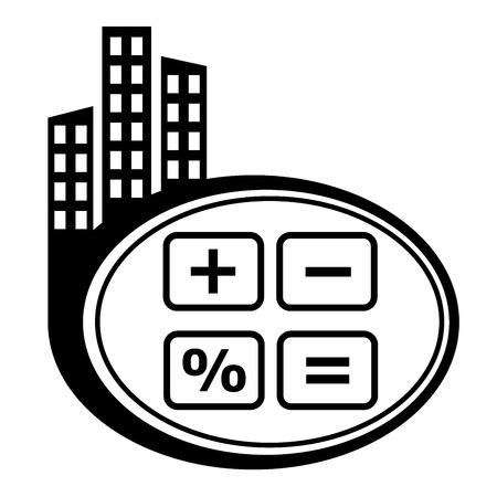Calculator cash register- vector icon isolated. Black city icon Vector