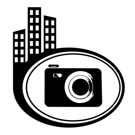 Photo camera - vector icon isolated. Black city icon Vector