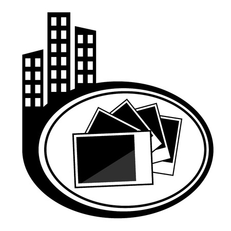 Photographs pictures - vector icon isolated. Black city icon Vector