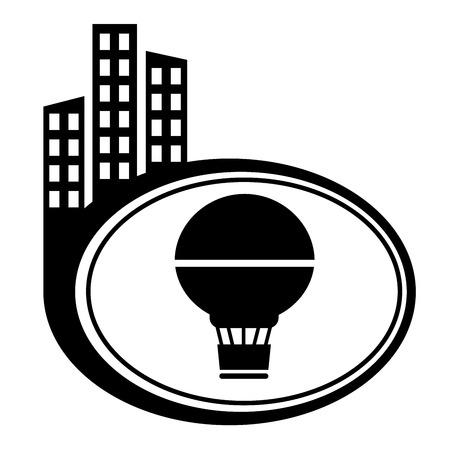 city icon: Air Balloon - vector icon isolated. Black city icon Illustration