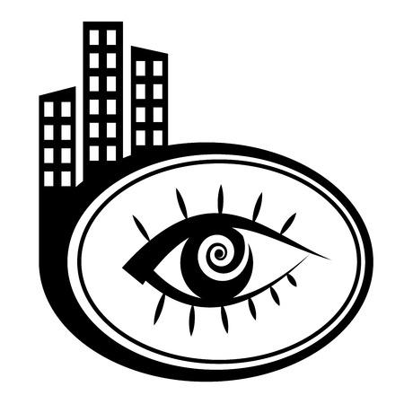 city icon: Vector icon - Human eye. Black city icon Illustration