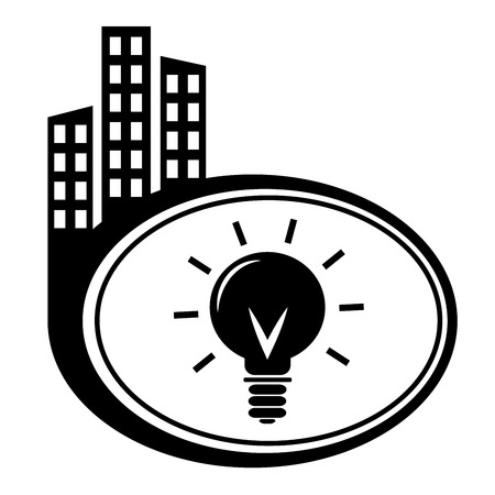 city icon: Light bulb icon. Black city icon