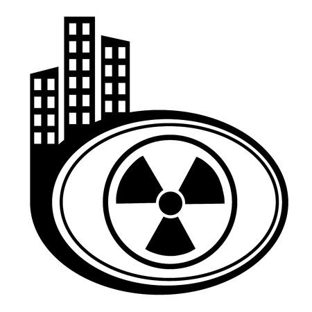 toxic barrels: Vector icono radiactivo. Puntero ciudad Negro