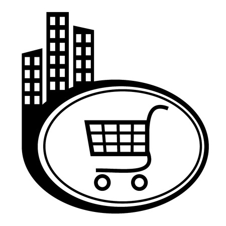 Shopping trolley - vector icon isolated. Black city pointer Vector