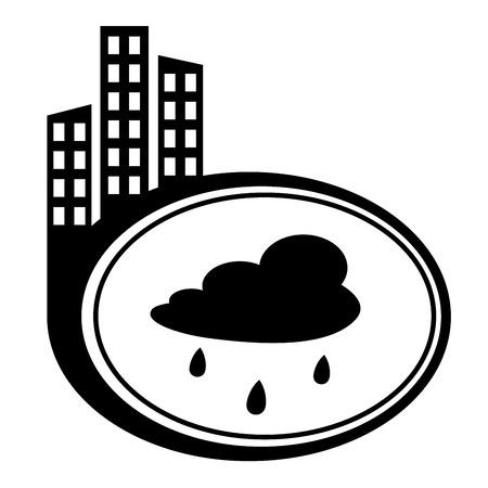 drench: Nube de lluvia - aislado vector icono. Puntero City