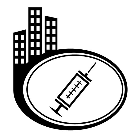 Medical syringe with vaccine - black vector icon. City pointer. Vector