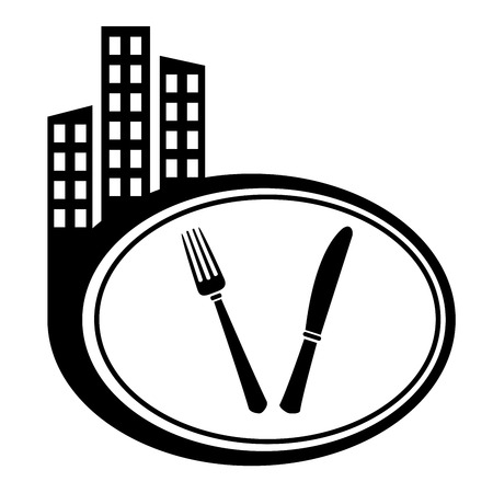 Fork and knife - city icon isolated on white Stock Vector - 22374055