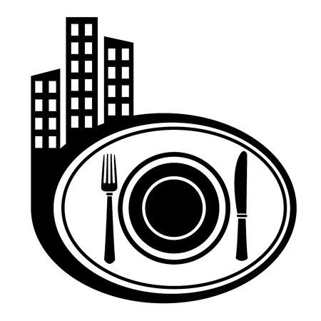 city icon: Dish, fork and knife. City icon Illustration